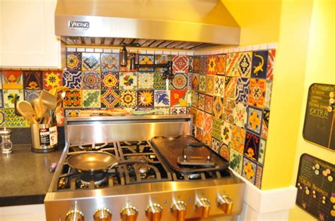 Decorative Backsplashes Kitchens Eclectic Mixed Talavera Tile Backsplash