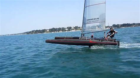hobie hydrofoil boat first sailing test with 4 foils youtube