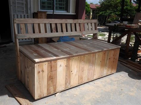 bench made out of pallets outdoor bench pallet outdoor bench with storage box