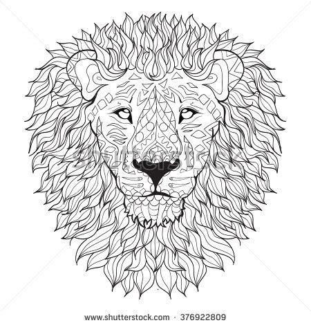 detailed lion coloring pages detailed lion aztec filigree line art stock vector