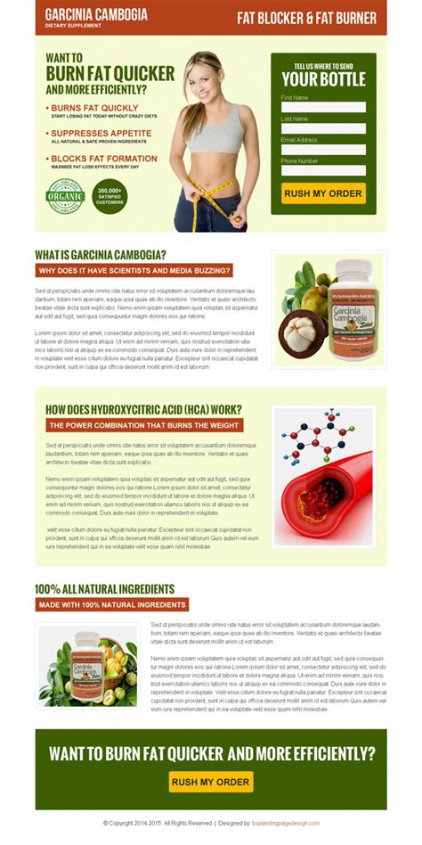 product landing page templates garcinia cambogia weight loss product landing page design