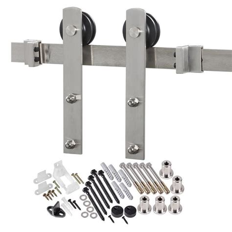 Shop 78 75 In Stainless Steel Barn Door Roller Kit At Barn Door Hardware Lowes