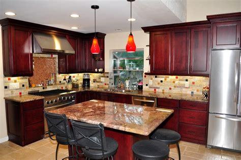 Burgundy Kitchen by Dynasty Cherry Wood Burgundy Onyx Traditional Kitchen