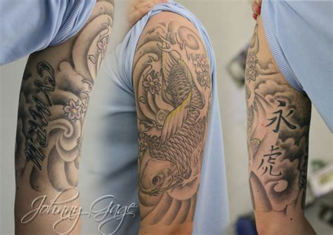 awesome tattoo sleeves awesome grey japanese wave on half sleeve and chest