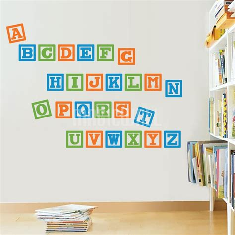 alphabet stickers for walls wall decals alphabet blocks nursery wall stickers