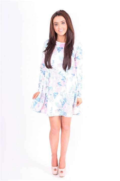 white long sleeve swing dress white pink and teal pastel floral long sleeved floaty
