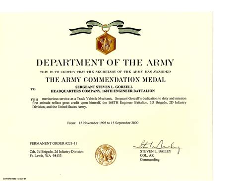 army award certificate military awards certificates and training steven lee