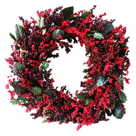 shop holiday living 30 in unlit berry artificial christmas