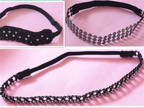 elastic beaded headbands black rhinestone beaded flower headband