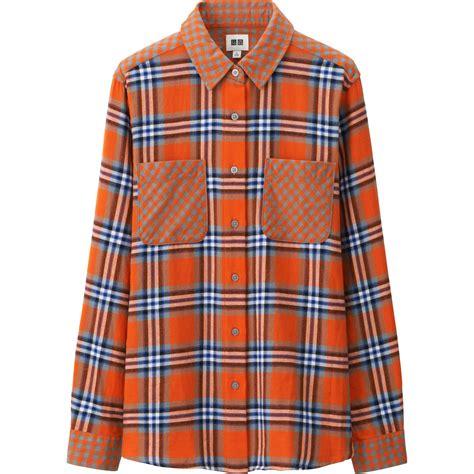 Topping Flanel Orange uniqlo flannel sleeve shirt in orange lyst