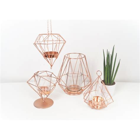 Copper Decorations Home Geometric Copper Candle Holder On Base 12 Cm Copper