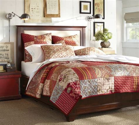 quilts for master bedroom georgia patchwork quilt sham red pottery barn