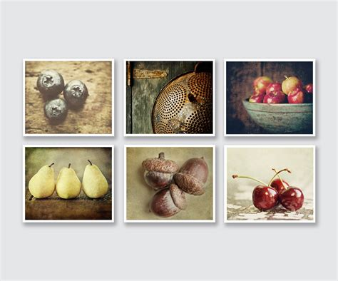 country kitchen prints country kitchen decor set of 6 food prints or canvas wraps