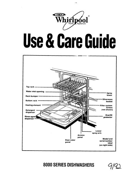 Whirlpool Dishwasher 8000 Series User Guide