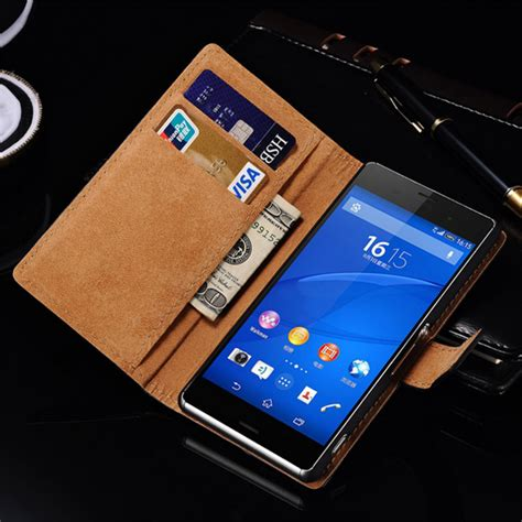 Casing Cover Sarung Pda Book Standing Xperia Z 2 Z2 real genuine leather for sony xperia z3 book style flip stand phone back cover with card