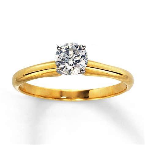 solitaire engagement ring yellow gold jared