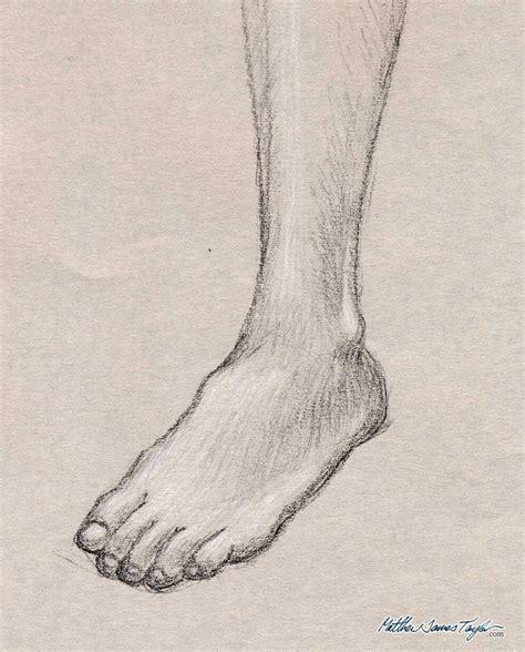 foot study tonal drawing on grey drawing matthew james