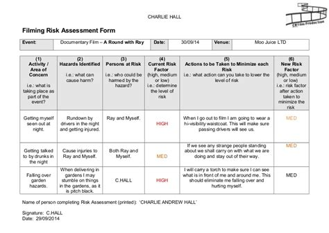 mobile project technology assesment report template filming risk assessment form
