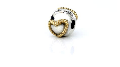 Pandora Silver and 14k Gold Charm   Heart Clip   790599 RRP£120!!!   eBay
