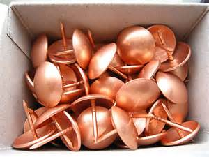 10 large copper upholstery nails 19mm diameter