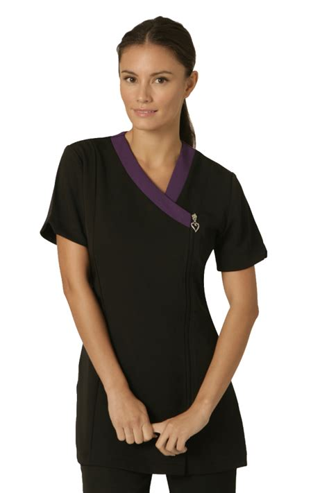 Ribbona Tunik ribbon black tunic with purple contrast neckline
