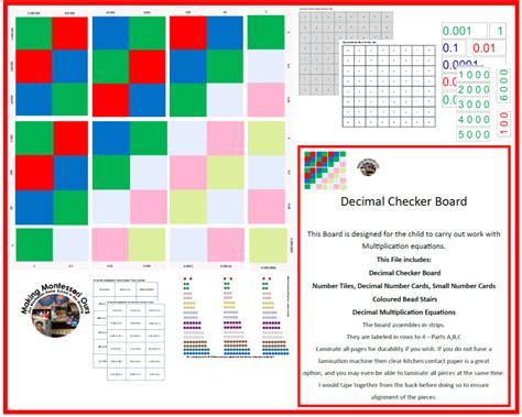 printable montessori checkerboard quot making montessori ours quot montessori decimal checker board