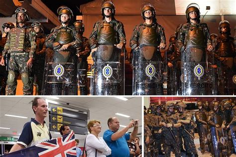 cops armed in riot gear arrive at walmart world cup 2014 riot greet australian