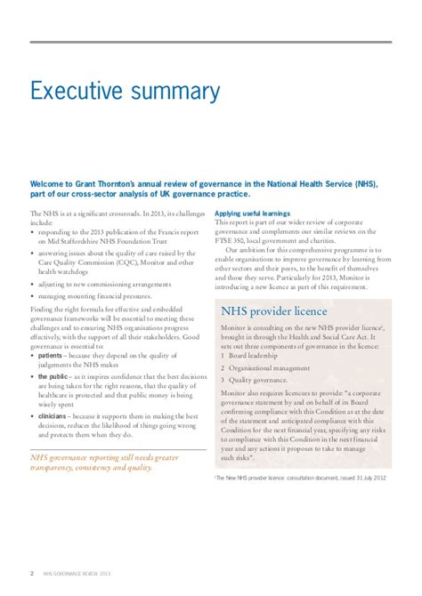 Nhs Complaints May 2013 by Grant Thornton Nhs Governance Review 2013