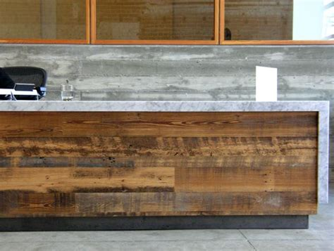 Timber Reception Desk Recycled Wood Marble Top Reception Desk Reception Area Reception Desks