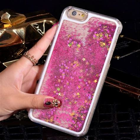 liquid glitter iphone     case pink pearls  rocks