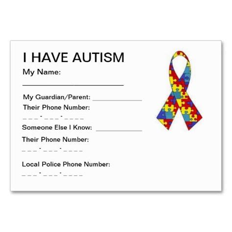 child identification card template autism id cards autism asd and autism spectrum disorder