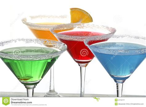 four colored cocktails 2 royalty free stock photography