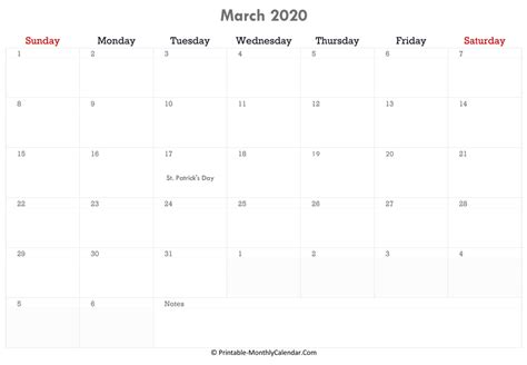 march  calendar printable  holidays