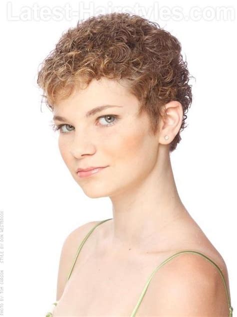pixie cut with curl perm cream of the crop short blonde highlighted curly look over