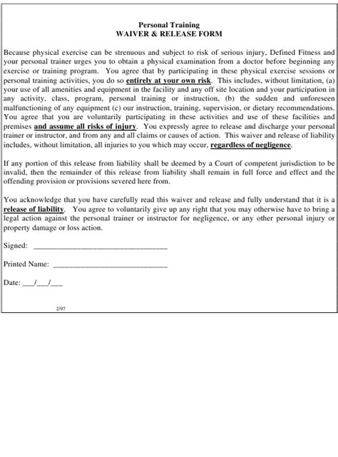 personal training waiver release form  printable