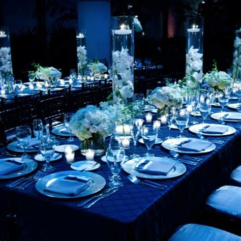 black blue and silver table settings royal blue table settings centerpieces