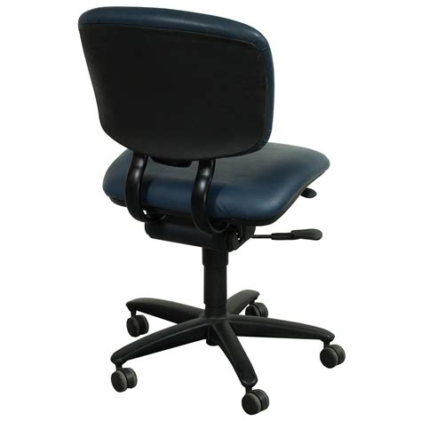 Haworth Chair by Haworth Improv Used Armless Leather Task Chair Blue