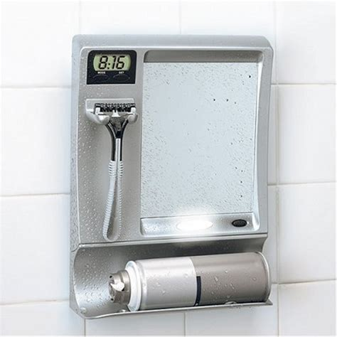 Fog Free Shower Mirror by Fog Free Shower Mirror With Led Light And Clock Gadgetgrid