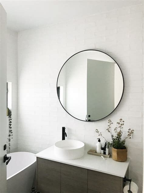 white mirrors for bathroom gina s home black and white bathroom reveal black round