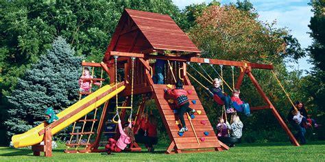 castle swing sets cedar castle series rainbow play systems swing sets