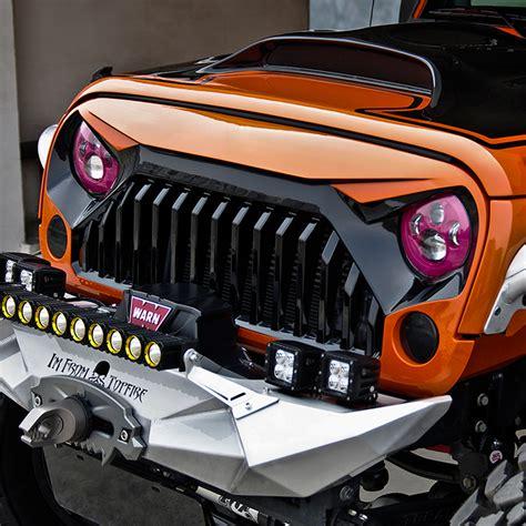 jeep wrangler front grill xprite gladiator vader front matte black grille zs 0034k