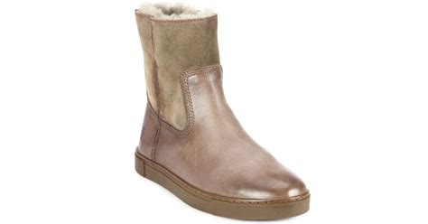 frye gemma shearling lined leather suede ankle boots in