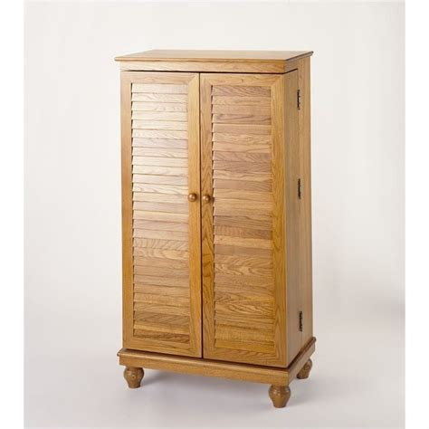 Oak Dvd Cabinet With Doors 40 Quot Cd Dvd Media Cabinet In Oak With Louvered Doors Cd 612v