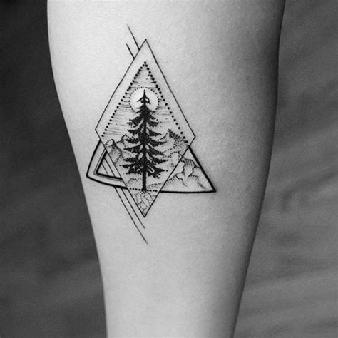 fantastic geometric christmas tree tattoo design ideas