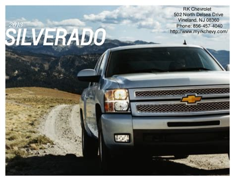 gmc dealers in south jersey 2013 chevrolet silverado brochure south jersey chevrolet