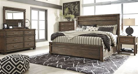 brown bedroom furniture leystone dark brown panels bedroom set b614 81 96 ashley