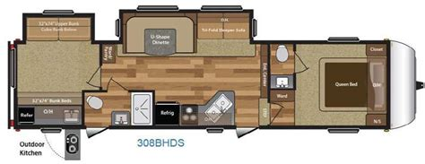 hideout rv floor plans new 2017 keystone rv hideout 308bhds fifth wheel at