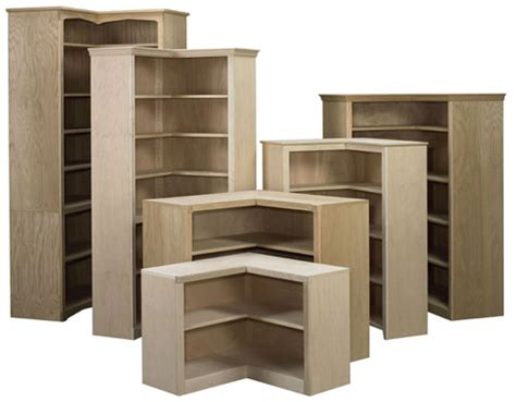 Corner Bookcase Furniture Corner Bookcases Bare Woods Furniture Real Wood Furniture Finished Your Way