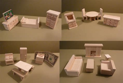 wooden dollhouse furniture crafted new