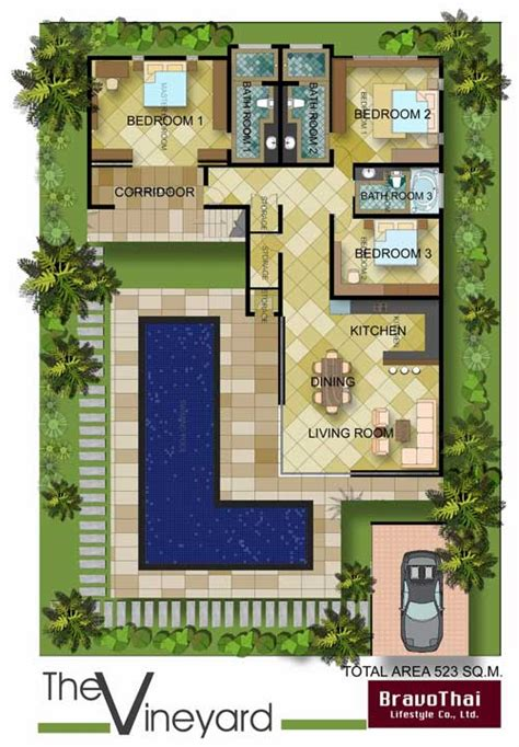 u shaped houses 2 bedroom u shaped courtyard house plans plan tr8576ms old world